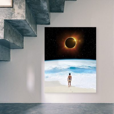 Beach Eclipse Canvas artwork