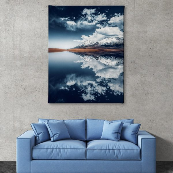 Ark Rebel Bolivian Reflection Mountain Stretched CanvasArt