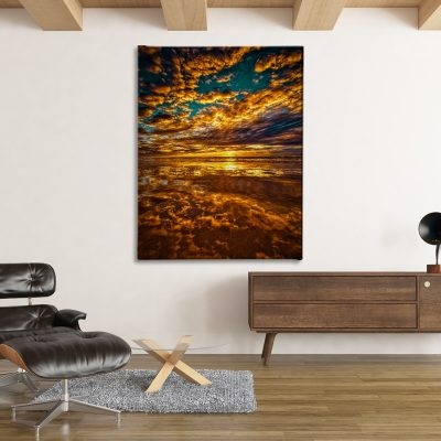 Ark Rebel Fire On The Water Large Sunset Canvas Art