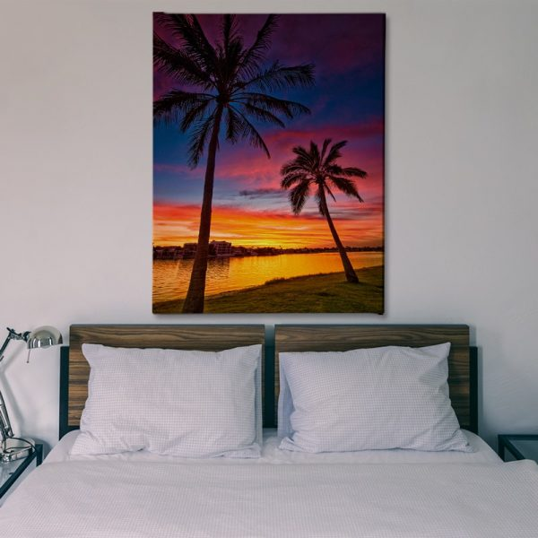 Ark Rebel Pink Palms Beach house Large Canvas Wall Decor