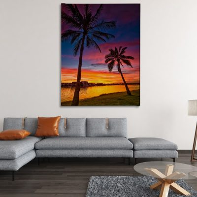 Ark Rebel Pink Palms Beach house Large Canvas Wall Art