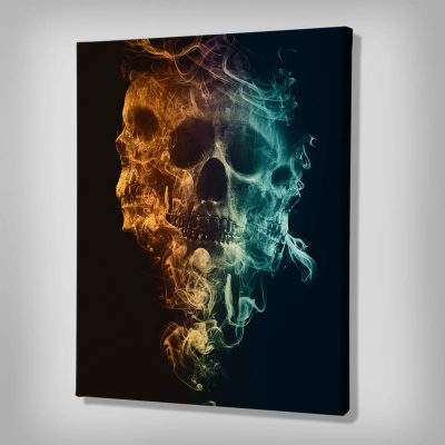 Ark Rebel Up In Smoke Skull Canvas Art