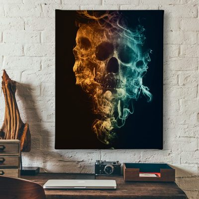 Ark Rebel Up In Smoke Skull Wall Canvas Art