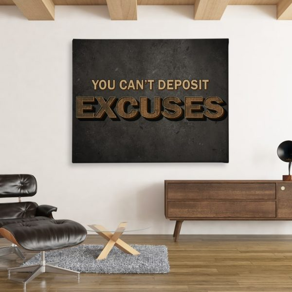 Ark Rebel You Can't Deposit Excuses Inspirational Canvas Wall Decor